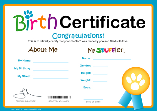 Stufflers kids entertainment and fundraising in australia for Build a bear birth certificate template
